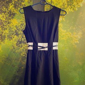 Calvin Klein Black White Midi Dress & Belt Size 2